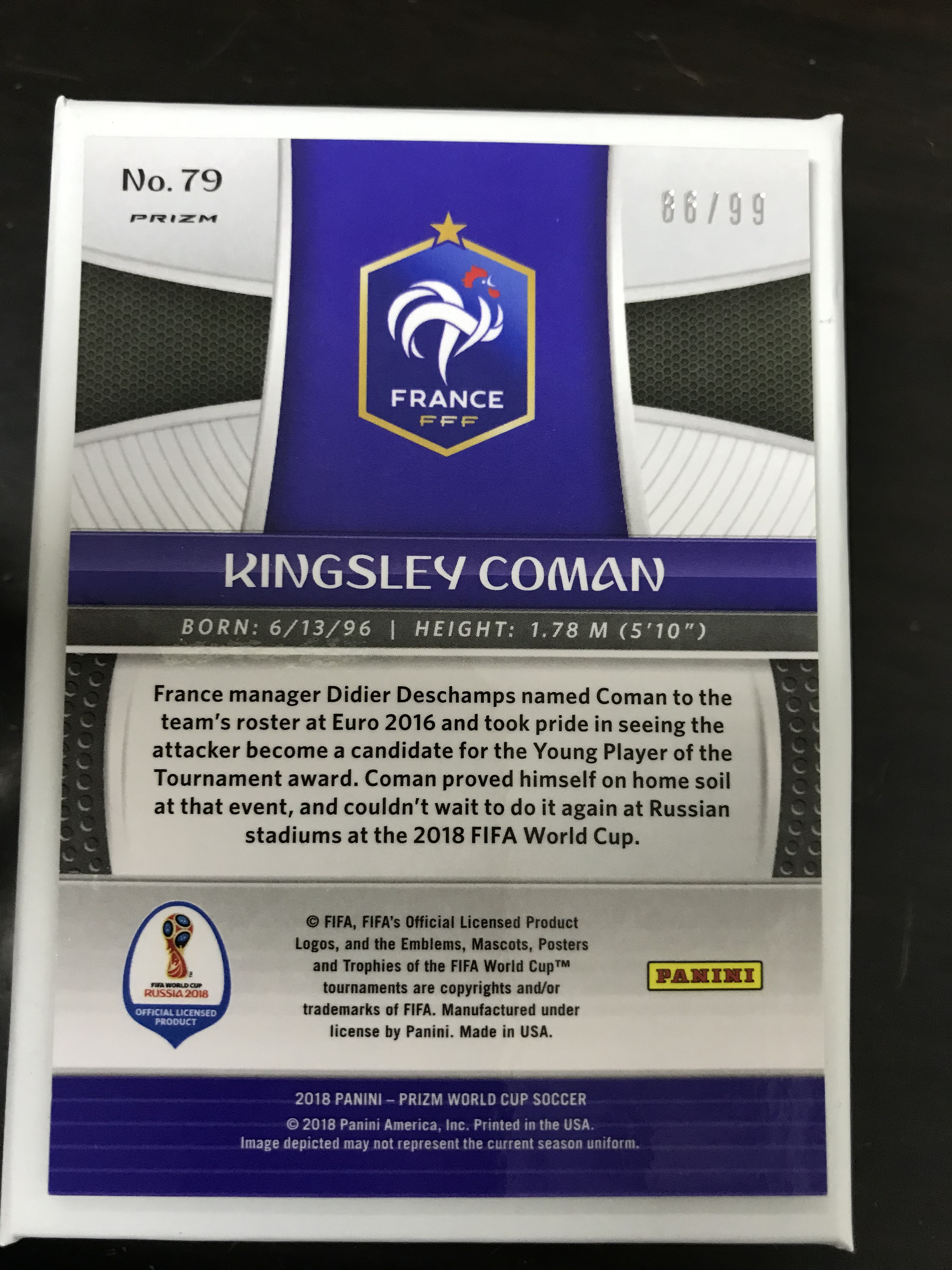 2018 世界杯 法国 科曼 紫折 86/99
