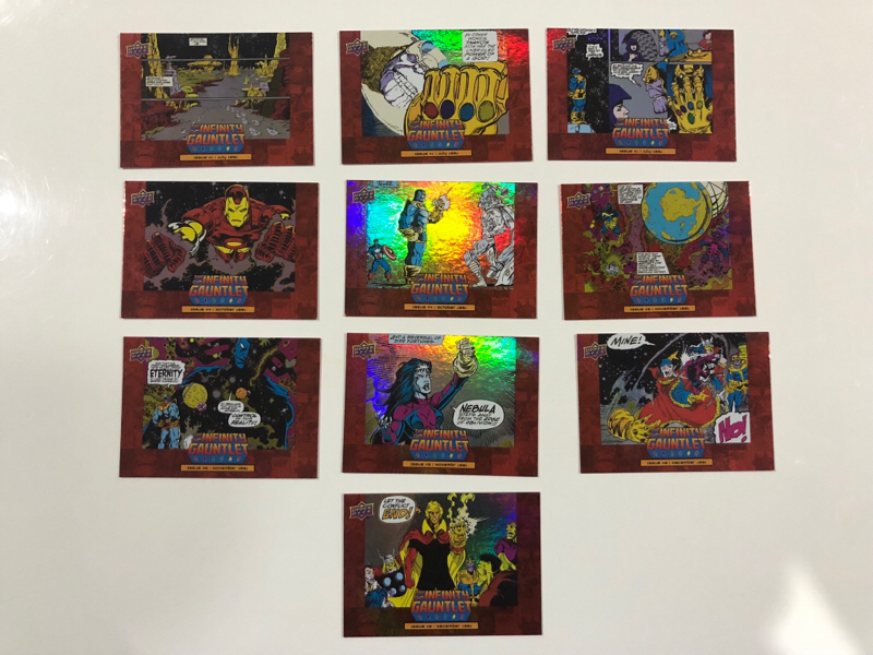 2018 UD 漫威 复仇者联盟3 红色 无限战争手套漫画特卡套 10张全套 凑套必备!