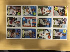 2018 MLB Topps Hertige 三联 未切割 长卡 打包 3张 (盒中 顶包,不一定都是长条的三联卡,SP)