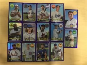 2018 MLB Topps Hertige  紫折 平行 Refractor  打包 14张(Seager、林木一郎、Correa、K Bryant)一箱只有一盒会出紫折,SSP