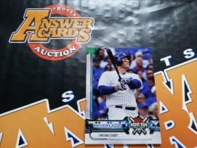 Y005《答案卡世界》拍卖 2018 topps棒球 ANTHONY RIZZO 抽奖卡!