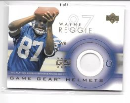 2001 NFL 橄榄球  小马队 明星外接手 REGGIE WAYNE  雷吉 维恩 ROOKIE PHOTO SHOT 新秀头盔卡
