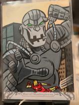 2018 UD Marvel Masterpiece 手绘 钢铁侠大战巨人Ultimo 由知名画师Jeff Mallinson绘画。图中不但有Ultimo,还有一个钢铁侠,特别漂亮值得收藏!