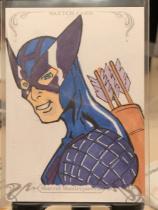 2018 UD Marvel Masterpiece 手绘 鹰眼 1/1 一编一 由知名画师Glenn Williams绘画,背面画师签字。鹰眼将出现在复联四的电影中。特别漂亮值得收藏!