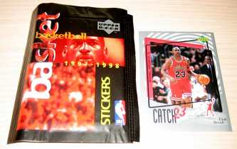 1997 ud 原封未拆sticker卡包  随便拆了2包 就有乔丹 还有科比 加内特 奥尼尔 米勒 巨星全都有 还能拆到球队logo标 3连3个人的 卡包20年了 胶粘的不那么紧 卡没问题 每标1包