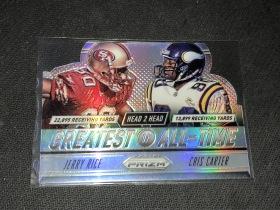 NFL 橄榄球 名人堂  jerry rice +cris carter 双人折射 切割卡