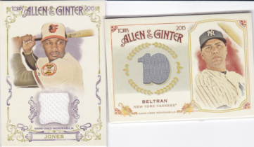 K1 周天行 2015 Topps Allen Ginter 系列 经典 棒球 球衣卡 2张一起出 如图 超级漂亮 真心经典