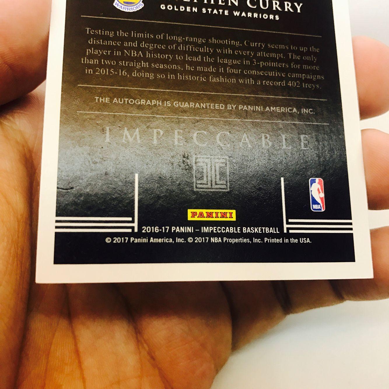 【艾之魂球星卡 广州分区】16-17 Impeccable 小真金白银 元年系列 斯蒂芬-库里 勇士 超级巨星 29/30编 背号编 背号签 卡签 号码签 此卡包砖 ebay已涨疯 很难找寻【ab】