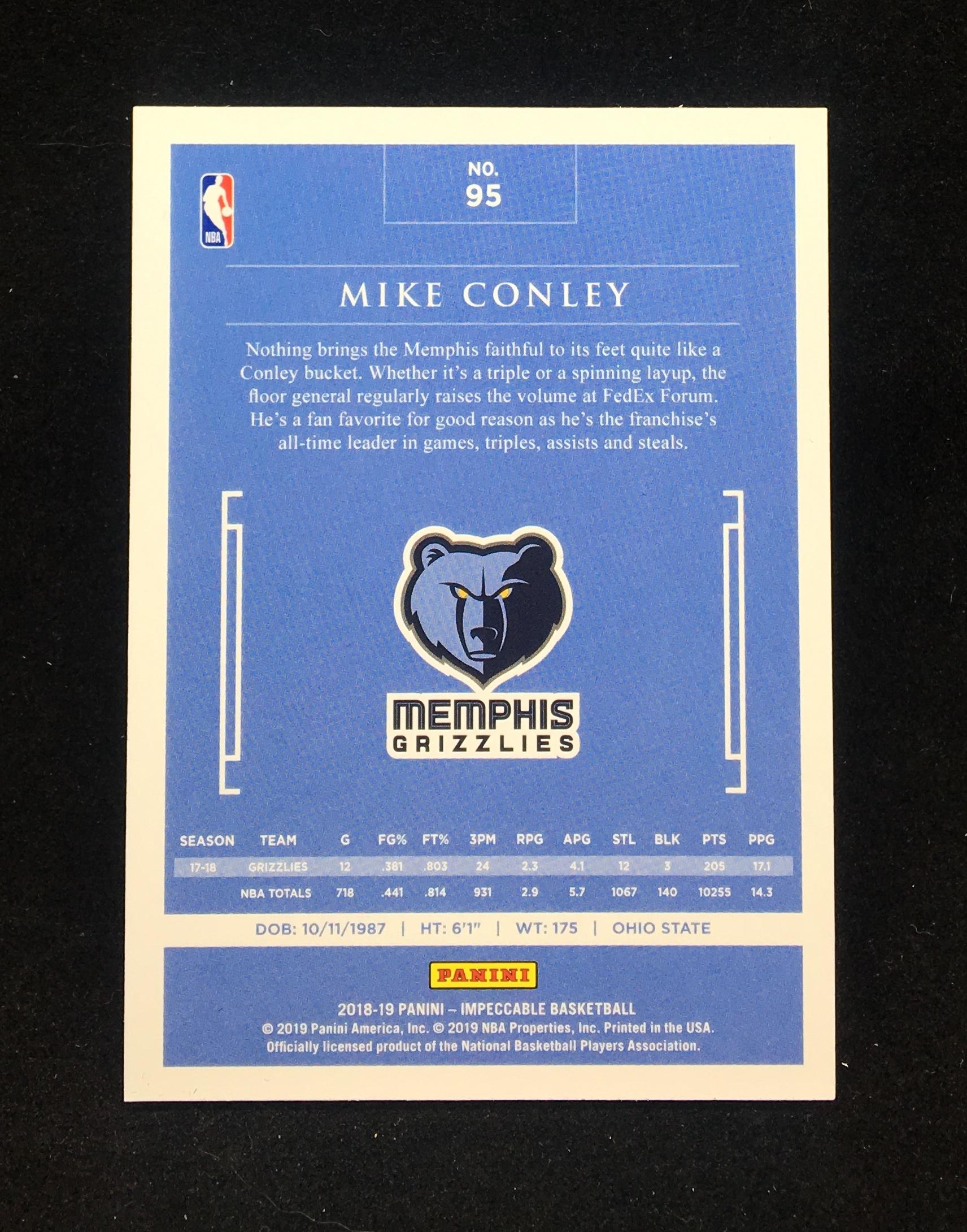 【小餅星卡】邁克 康利 MIKE CONLEY 2018-19 小真金白銀系列 IMPECCABLE 限量25編 高端系列 卡材質厚實 BASE KA499