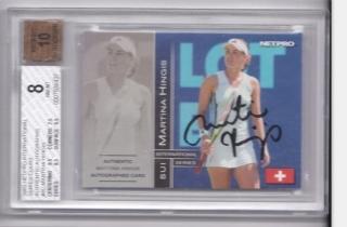 网球球星卡 玛蒂娜 辛吉斯 签字签名卡 netpro 500编 BGS评级卡 8