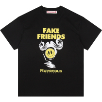 RAVENOUS(RVNS)FAKE FRIENDS假朋友笑脸短袖男T恤郑恺抖音同款