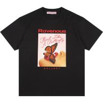 RAVENOUS(RVNS)红唇蝴蝶印花短袖宽松潮牌情侣T恤男女