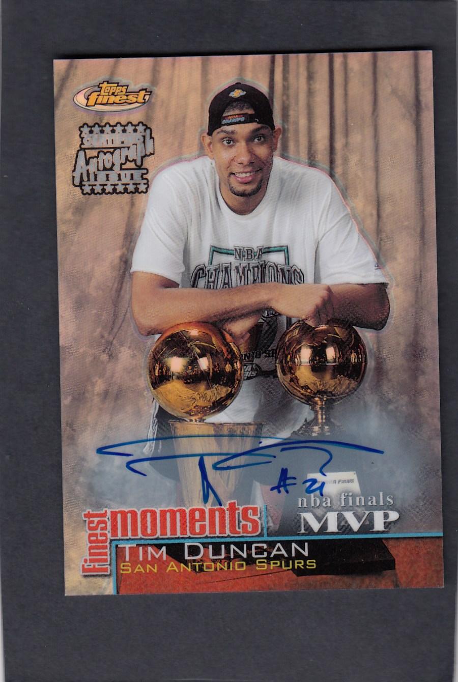 蒂姆 邓肯 Tim Duncan 2000-01 Topps Finest 折射 奖杯 签字 墨迹冰蓝 品相一流 品相如图 可搏金标 邓肯最好的签字之一