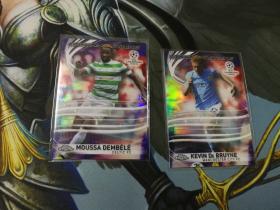 【1118】<<苏州卡通>> 足球 TOPPS CHROME Lightning 特卡银折2张一起 德布劳内 & 登贝莱(品见大图)