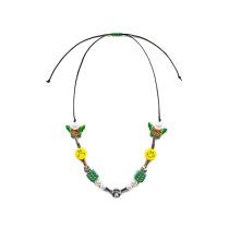 EVAE圣诞限定珍珠笑脸骰子绿色项链