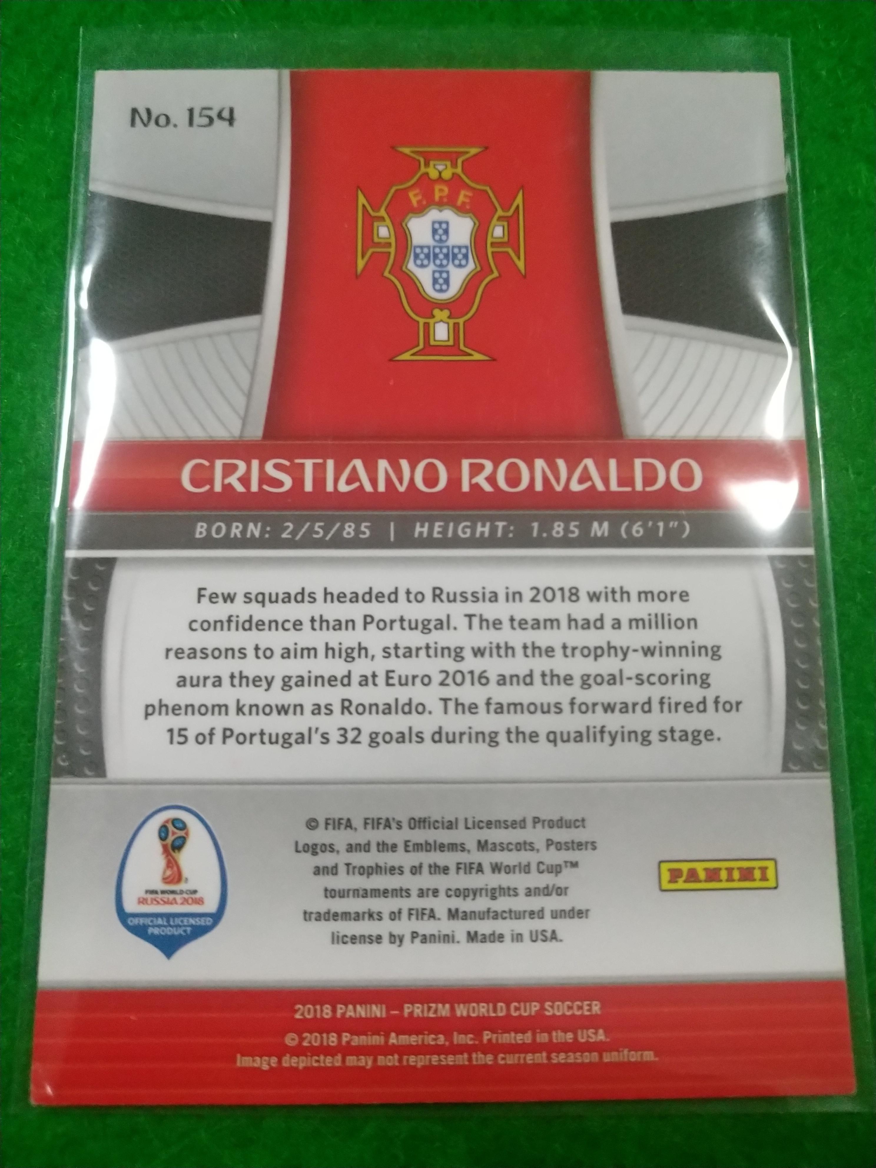 2018 世界杯 PANINI PRIZM C罗 克里斯蒂亚诺 罗纳尔多 BASE 绝代双骄(葡萄牙、曼联、皇马、尤文图斯)投资佳品!