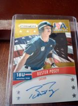 2014 Panini Prizm MLB 棒球 旧金山巨人 Buster Posey 美国队U18时期 金折卡签 04/10