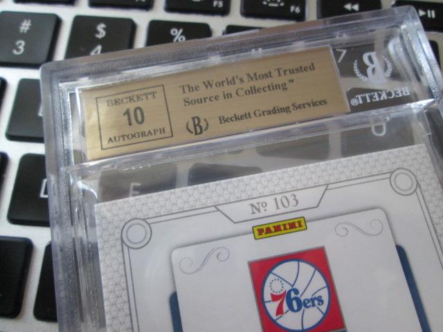 [退坑出卡]14-15 国宝 76人 大帝恩比德 新秀patch球衣签名卡 rpa 限量/99 bgs9.5金标 签字10分 完美品相