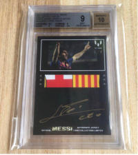 2013 Messi Icons Patch Auto One of A kind 1/1 Bgs 9 签字 10梅西暴力队徽球衣切割签字
