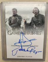 权力的游戏 权利的游戏 冰与火之歌 演员双人卡签签字!詹姆·兰尼斯特扮演者尼可拉·科斯特-瓦尔道和屠龙勇士波隆扮演者杰罗姆·弗林!超稀有sssp!