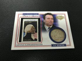【LZK30】美国 大选 系列   硬币邮票实物卡 少见 阿诺德施瓦辛格!