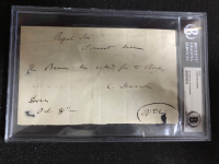 达尔文 生物进化论的奠基人 亲笔签名小简信 bgs认证 稀有好货