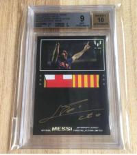 2013 Messi Icons系列 1/1 无平行Bgs 9 签字 10梅西暴力队徽球衣切割签字 梅西第一款有授权的签字 、卡签、球衣签 梅西正式版元年最大卡