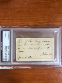 美国总统 亚伯拉罕 林肯 亲笔签名 小简信 psa认证
