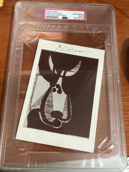 毕加索 亲笔签名原版明信片