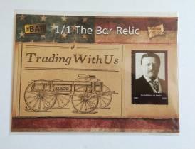 2019 the bar 发行 美国名人系列 美国总统罗斯福老新闻稿件切片实物+罗斯福肖像邮票实物 1/1 限量一张 5x7大尺寸实物卡 大比例 图中小卡仅做大小对比展示