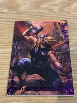 2018 漫威大师MP Tier4 SP 编号84 雷神紫色平行 限量084/199 (同背-限量与编号,1/1)两年出一次的大师系列每一张卡都是经典中的经典 每张卡都限量发售 卡厚75pt 卡盒已绝版 市面上售价已达1500元 漫威迷收藏家必收!Marvel Masterpieces