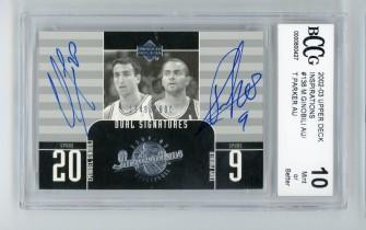 NBA球星卡 马努吉诺比利 托尼帕克 签名签字卡 UD 1600编 2003 BCCG评级卡10 O2005106