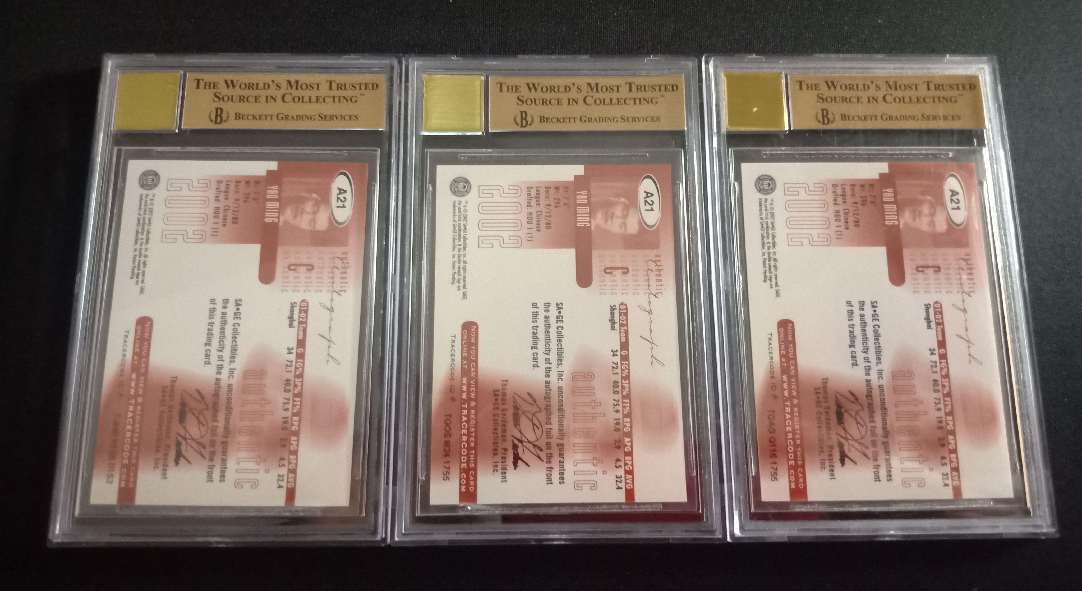姚明 SAGE 新秀 签字 卡签 金标 BGS9.5/10 金银铜 三张一套 全部金标+10分评级 限量 #/110 #/70 #/35