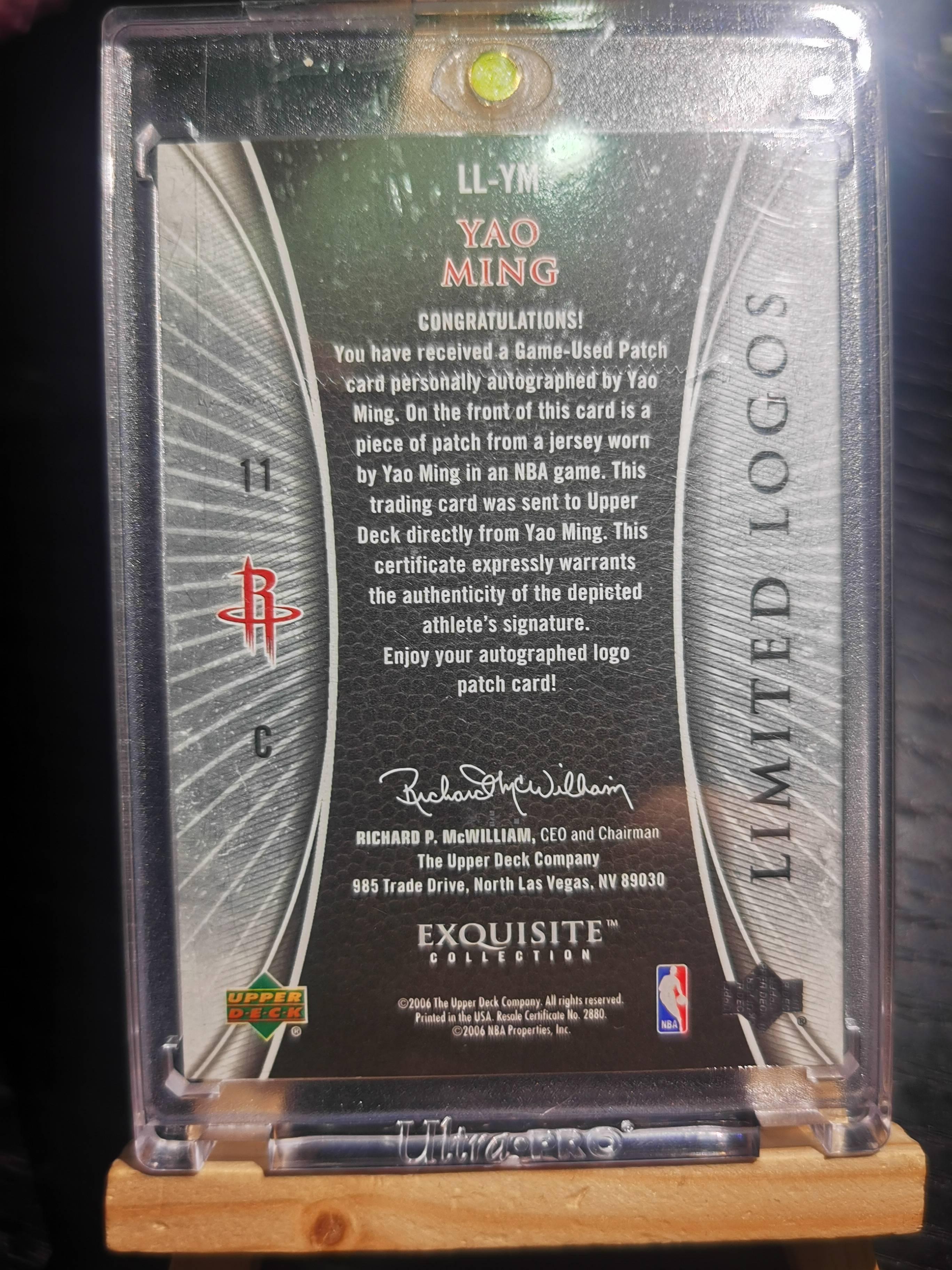 2005-06 UD EXQUISITE LL YAO 19/50,姚明,木盒LL,最高端系列最经典PA,三色暴力漂亮切割,墨迹湛蓝